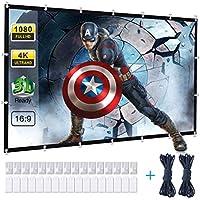 Powerextra Pantalla de Proyector 120 Inch 16: 9 HD Plegable Antiarrugas Portátil Pantalla de Proyección Lavable para Cine en casa Soporte al Aire Libre Doble de Proyección (120'')