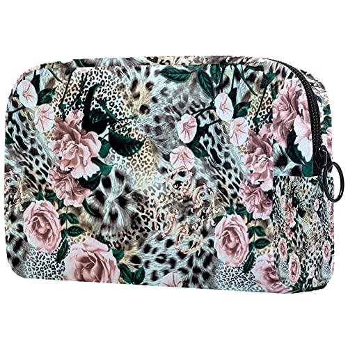 Neceser de Maquillaje Estuche Escolar para Cosméticos Bolsa de Aseo Grande,Tiger Leopard Print Flower Rose