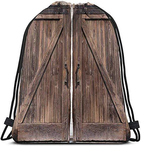 Mei-shop Kordelzug rustikale Duschkabine Duschvorhang aus Holz Scheunentor Stein Bauer Bild Vintage Design ländliche Kunst Architektur Rucksack