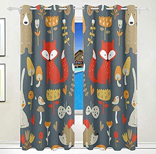 shkdif 3D Kinderzimmer Verdunkelungsvorhänge Cartoon Fuchs,Verdunkelungsvorhang Thermovorhang...