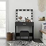 Vanity Table Set with Lighted Mirror, Makeup Table Vanity with Stool, Makeup Desk Bedroom Vanity Set Lots Storage Dressing Table Black