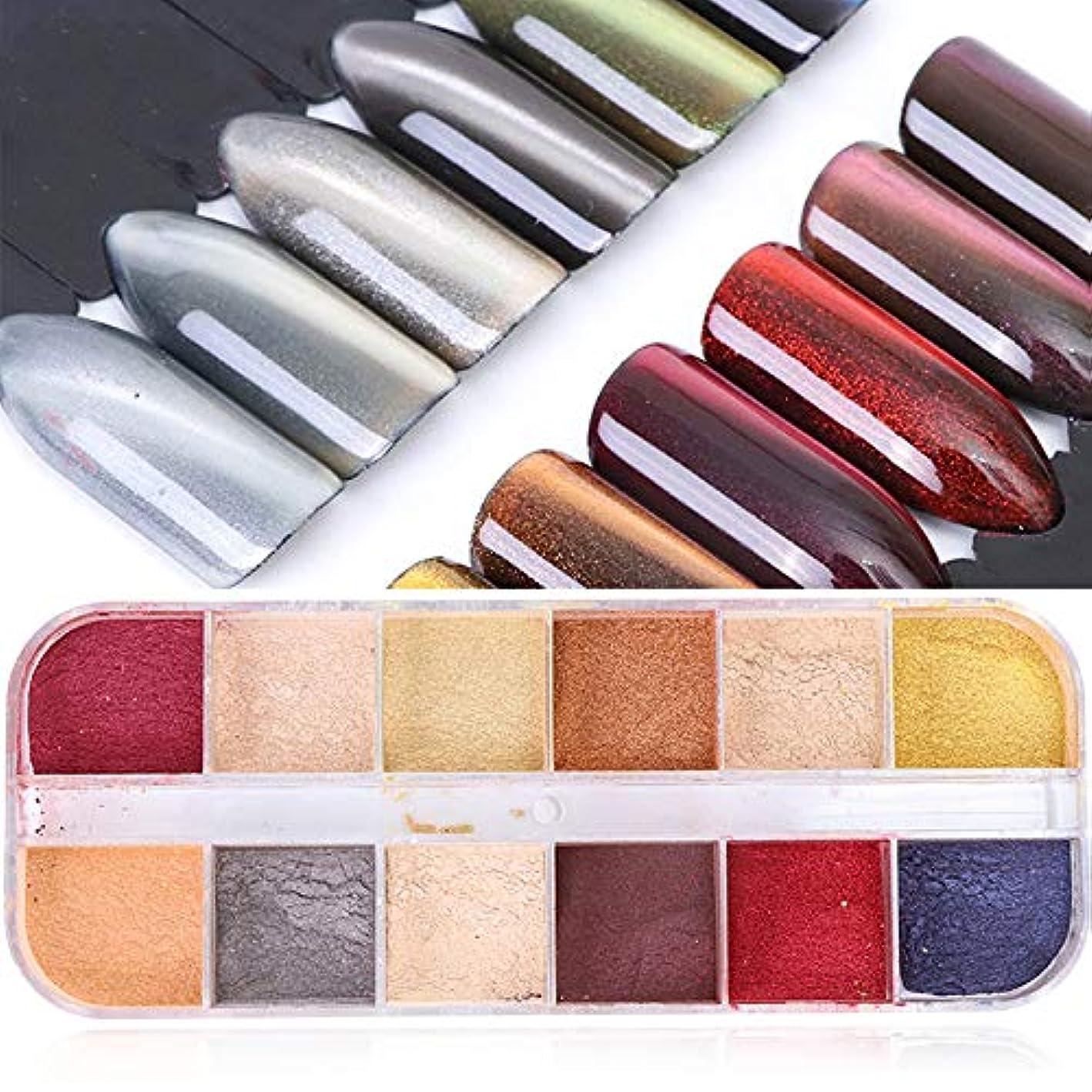 ビジネスネックレスノイズ12色ミックス3Dキャットアイ磁気パウダーネイルアートクロームレーザーキラキラダストUVジェルマニキュアDIYネイルアート装飾セット