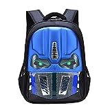Alipher School Backpack Waterproof Kids Backpack Comic School Bag Student Bookbag Transformers Large Size Blue