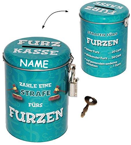 alles-meine.de GmbH Furz Kasse  - incl. Name - Spardose als Strafkasse - Schlafen - Schlafzimmer - Geld Sparschwein / Betten - lustig witzig - stabile Sparbüchse aus Metall - ..