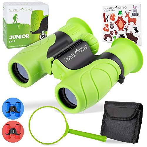 Monte Stivo® Junior | Vergleichssieger Fernglas für Kinder 8x21 | Tolles Geschenk-Set für Junge Mädchen
