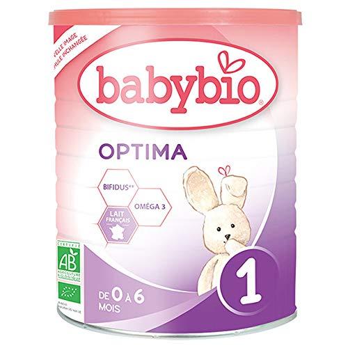 Babybio Optima 1 - Lait nourisson en Relais de l'allaitement maternel. Lait 1er âge, jusqu'à 6 mois protéines adaptées, certifié AB - La boîte de 900g
