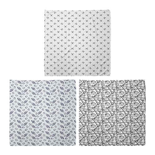 ABAKUHAUS Pack de 3 Bandanas Unisex, Bates y pelotas simplista a cuadros cuadrados Telón de fondo el estilo de dibujo Guante Bat, Multicolor