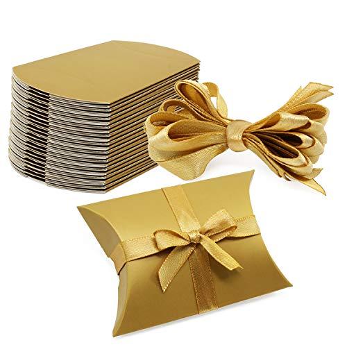 PsmGoods® Vintage Kraft Box Süßigkeiten Papier Süßigkeiten Box Geschenkbox für Hochzeit Geburtstag Party 50pcs (Kissen Gold)