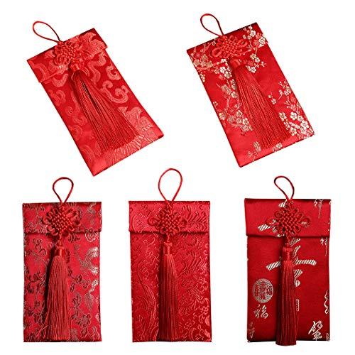 Chinesische Briefumschläge, Outgeek 5 STÜCKE Roten Umschlag Brokat Traditionellen Chinesischen Knoten Roten Paket für Hochzeit