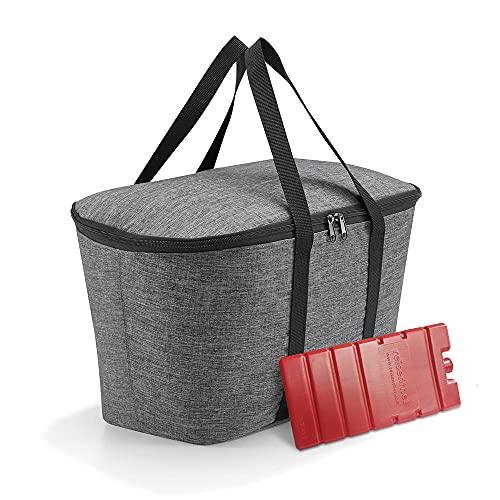 Set bestehend aus reisenthel coolerbag und Kühlakku - isolierte Kühltasche, faltbar, robust, mit Reißverschluss - 44,5 x 24,5 x 25 cm, Twist Silver