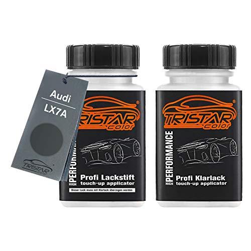 TRISTARcolor Autolack Lackstift Set für Audi LX7A Daytonagrau Matt Perl Basislack Klarlack je 50ml