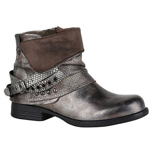 Damen Stiefeletten Biker Boots Nieten Schnallen Leder-Optik Schuhe 148771 Grau Metallic Glitzer 38 Flandell
