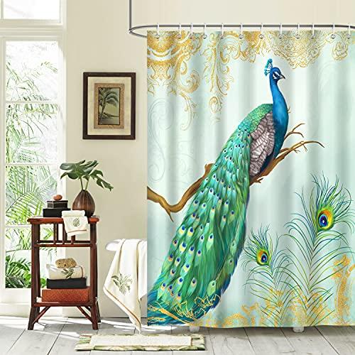 Bonhause Duschvorhang 180 x 180 cm Pfau Pfauenfeder Blaugrün Duschvorhänge Anti-Schimmel Wasserdicht Polyester Stoff Waschbar Bad Vorhang für Badzimmer mit 12 Duschvorhangringen