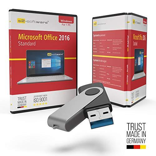 Microsoft® Office 2016 Standard USB Stick mit Verpackung, Unterlagen von Microsoft Lizenz Experten, Zertifikat & Lizenzschlüssel