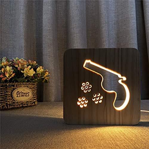 Doulex Form-kreatives Licht der Pistolen-3D und neuartige geführte leuchtende Holztisch-Lampe Meine Lampe