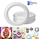 ACTENLY Craft Foam Wreath (3 Pack) Polystyrene Foam Ring for DIY Arts and Crafts, Kids Art Class, Floral Projects, Christmas, Wedding and Home Decorations, 11.7 x 11.7 x 2 inches