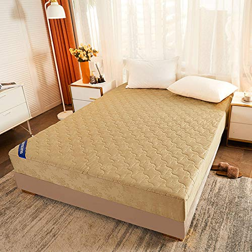 GTWOZNB No-Iron Bottom Sheet with Strong Elastic Hem to Fit Snugly Around Your Mattress Cotton Antibacterial Bed Sheet-Camel_1.2 * 2.0m