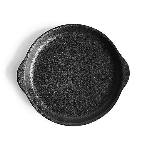 WQF Plateau de Cuisson en céramique 4 pièces Plat de Cuisson en céramique givrée, pâtes au Steak binaural, Assiette de Fruits, Assiette à Salade moules à gâteaux (Couleur: Noir, Taille