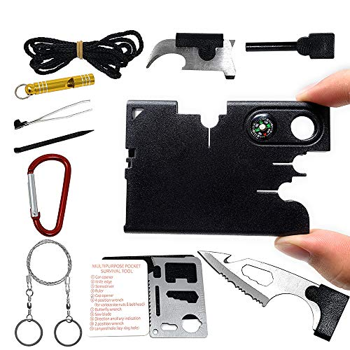 SYLC 18 In 1 Credit Card Wallet Multi-Tool Outdoor Rescue Card Tool Exquisite Gift Set Suitable For Portable (A)