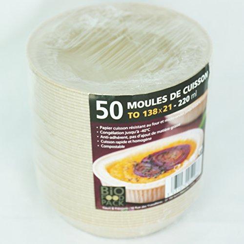 zi pac Bio Food Pack Einwegbackformen, kompostierbar, öko, umweltfreundlich, rund, 138mmx21mm, 220ml, 50 Stück