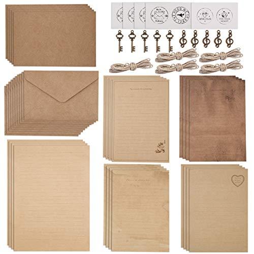 WXJ13 Juego de 5 juegos de papel de carta vintage, 20 hojas de papel de carta, 10 sobres, 10 accesorios de metal, 10 pegatinas de cáñamo, 10 pegatinas de sellado, 5 tarjetas de felicitación vintage