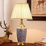 Zenghh Lámpara de mesa de cama lateral Lámpara de mesa pintada a mano Spray de mar Ukiyoe Van Gogh Escritorio Luz Cerámica China Gran Cerámica Tarro de porcelana Azul Lámpara de noche LED 3200K Sombra