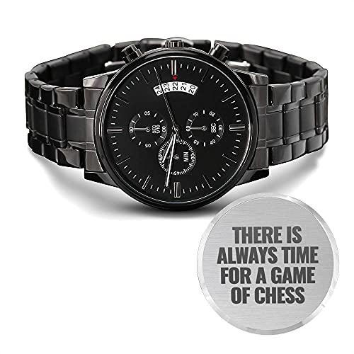 Reloj cronógrafo negro con diseño grabado de ajedrez para hombre
