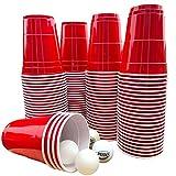 Original Bierpong Becher Set von MBP MyBeerPong® - 100 Red Cups 16 oz (473 ml. große Beerpongbecher),+ 6 Tischtennis Bälle. Das Spring Break 2021 Trinkspiel aus den USA, für deine Saufspiele - Party