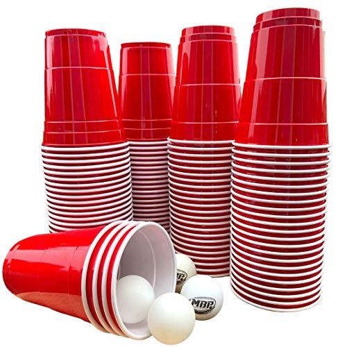 Original My Beer Pong Red Cups Set 16 oz (473 ml.), 100 Rote Kunststofbecher + 6 Original My Beer Bong Tischtennis Bälle. Das Spring Break Trinkspiel aus den USA