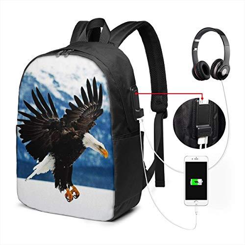SNFDFS Mochila Bolsas con Puerto USB 15,6 Pulgadas, Moda Mochila De Viaje Camping Casual Mochila Flying Eagle Calvo montañas Mochila Escolar Mochila
