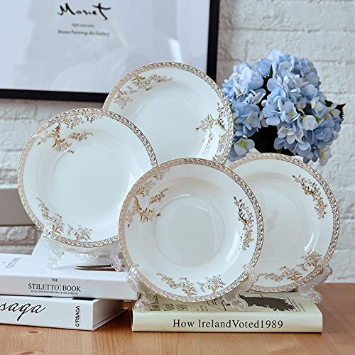 H/A 4 set di 20,3 cm piatto piatto di ceramica creativo piatto piatto occidentale piatto profondo SADSDM (colore : Swan Lake, Dimensioni: 20,3 cm)
