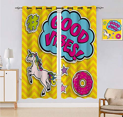 Good Vibes Custom-made Curtain, Fantastic Colorful Fun Design Cute Magic Unicorn Speech Bubble Stars and Donut Window Drapes 2 Panels Set, Each Panel 60'W x 90'L Multicolor