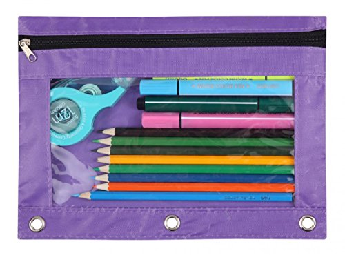 WODISON 3-Ring Pen Pencil Pouch with Clear Window Stationery Bag Binder Case Classroom Organizers Purple