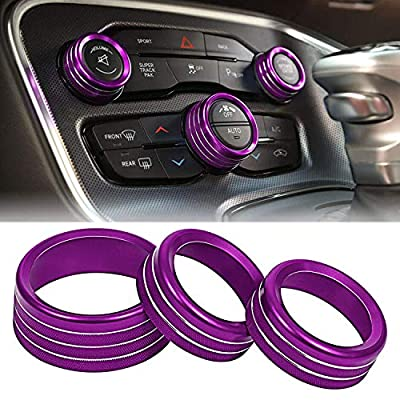 ToolEpic for Dodge Challenger Charger Accessories 2015-2021 - Decor Trim Rings Set of 3 - Best Aluminum Alloy Crazy Purple - Air Conditioning Volume Radio Button Knob Cover