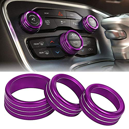 ToolEpic for Dodge Challenger Charger Accessories 2015-2020 - Decal Trim Rings Set of 3 - Aluminum Alloy Crazy Purple - Air Conditioning Volume Radio Button Knob Cover, Perfect for Upgrades