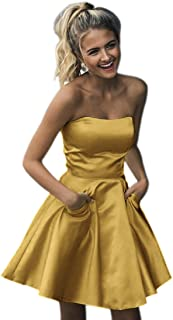 JONLYC Strapless Short Homecoming Dress with Pockets Graduation Party Dresses