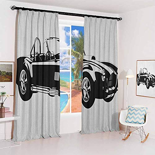 GUUVOR Cars Studio partition Living Room Curtain Silhouette Classic Sport Car Ac Cobra Roadster American Antique Engine Autosport for Living Room or Bedroom W96 x L84 Inch Black White