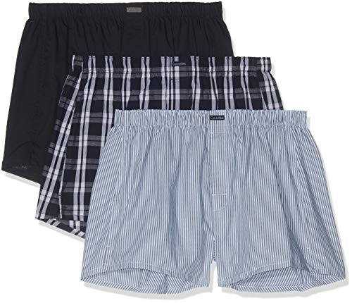 Calvin Klein Herren BOXER WVN 3PK Boxershorts, Blau (Tide/Morgan Plaid/Montague Stripe Tmm), Large (Herstellergröße: L)