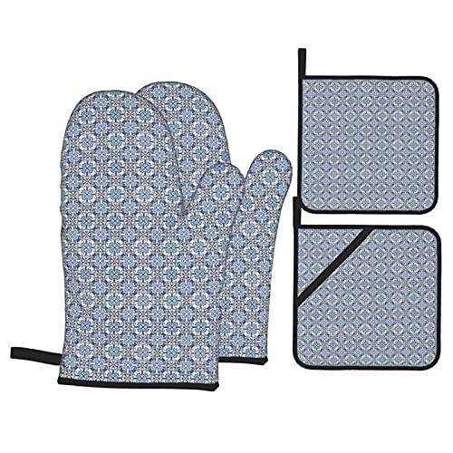 Juego de 4 manoplas para horno y soportes para ollas, estampado de motivos de cerámica de azulejo marroquí, guantes de barbacoa con almohadillas calientes resistentes para cocinar en la cocina