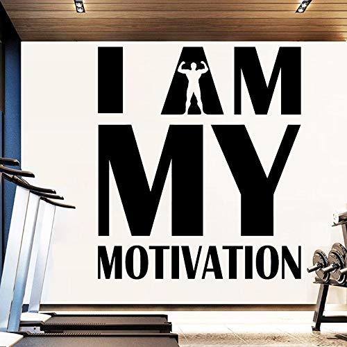 Pegatinas de pared para gimnasio, calcomanías de vinilo para club de fitness, mural de culturismo, decoración deportiva, soy mi motivación, citas inspiradoras O115_ como se muestra