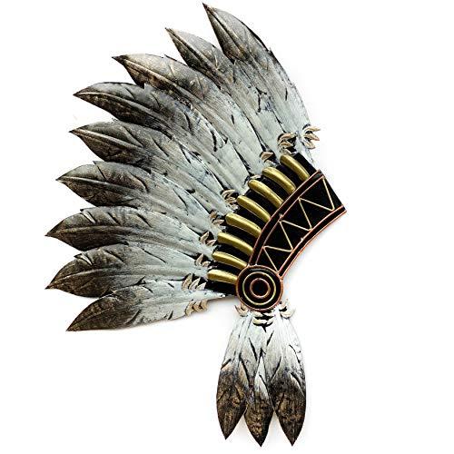 Crafia Native American Headdress Metal Wall Decor | Cast Iron Native American Wall Art and Ideas