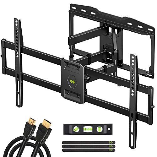 TV Wandhalterung Schwenkbar Neigbar für 37-75 Zoll max.VESA 600x400mm für LED/LCD/Plasma Fernseher,TV Halterung aufhaengung mit Ausziehbar Ultrastarker Doppelarm bis zu 45kg