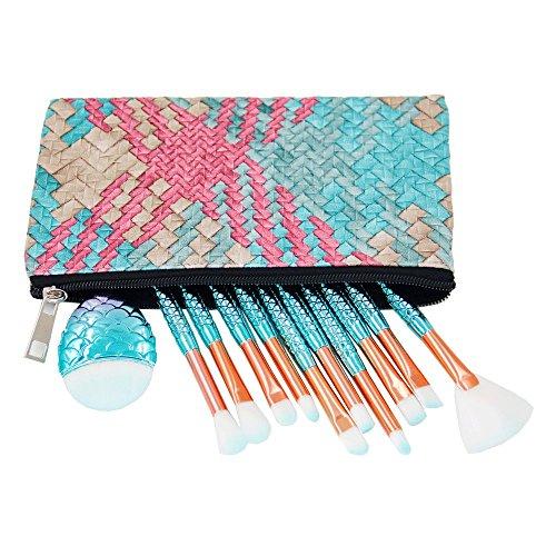 Ensembles de Pinceaux de Maquillage de Sirène, Niziyi 11 pcs Mermaid Lot de Brosse Cosmétique de Maquillage Doux Poils en Nylon Beauté Brosses Kit Fond de Teint Poudre Crème Sourcils Eyeliner