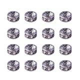 PandaHall Elite 20 Pcs Flat Round 316 Stainless Steel Crystal Rhinestone Bead Spacers Size 6x3mm