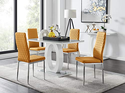 Furniturebox UK Giovani Grey/White Modern Stylish High Gloss Glass Dining Table Set and 4 Contemporary Milan Chairs Set (Dining Table + 4 Mustard Milan Chairs)
