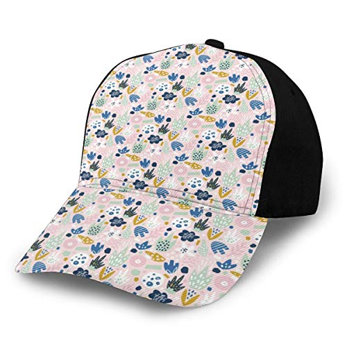 Hip Hop Sun Hat Baseball Cap,90s Memphis Style Inspired Fantastic Doodled Icons Scattered Look Nursery Concept,for Men&Women
