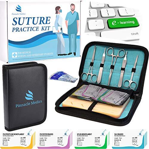 Chirurgisches Nahtset | Wundnaht-Übungsset | Silikon-Nähkissen mit Werkzeugsatz | 24 Wundnaht-Faden chirurgie nähset | Geschenk für Medizinstudenten, Tierärzte, und Zahnärzte | Wundnaht-Videokurs