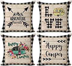 Kithomer Happy Camper Pillow Covers Buffalo Plaids Rustic Wood Home Outdoor Decorative Throw Pillow Case Cushion Cover 18