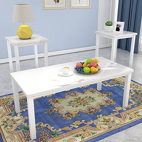 AWQM Faux Marble Coffee Table Set, Occasional Table Set of 3, Includes Accent Table & 2 Sofa Side End Tables for Living Room, White Metal Frame