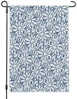 Dom576son Seasonal Garden Flag, 12 x 18 Inch Outdoor Flag, Garden Banner, Delicate Hand-Drawn Lace Pattern Hearts Garden Yard Flag